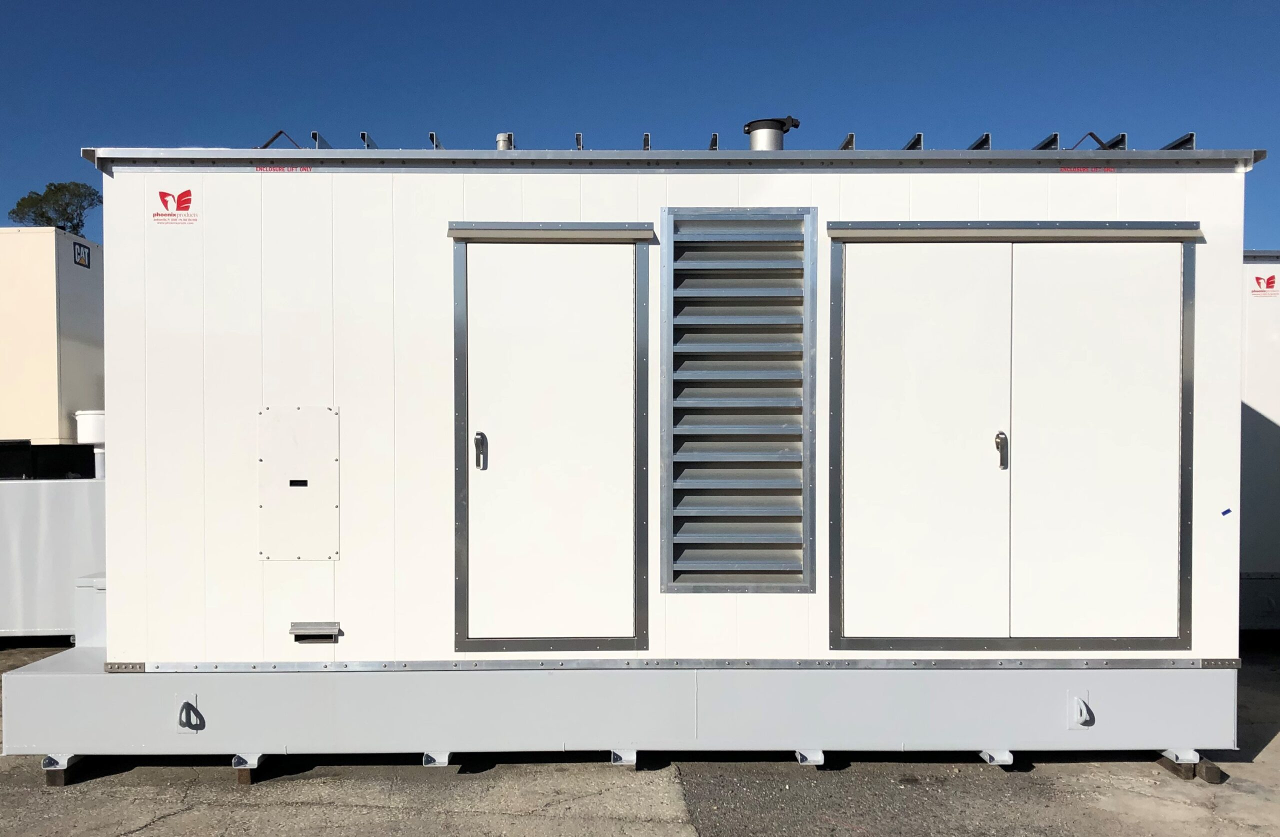Custom-Aluminum-Generator-Enclosure-With-Louvers-And-Double-Doors-And-UL-Sub-Base-Fuel-Tank