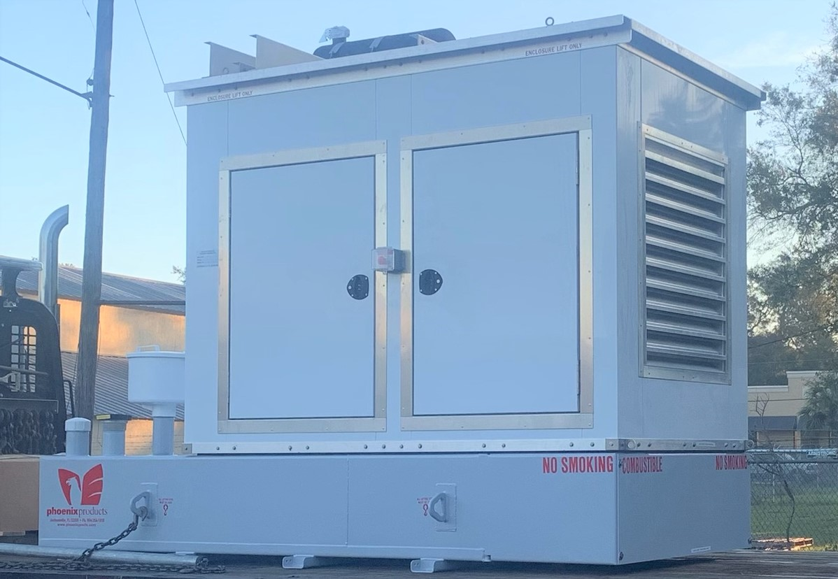 Custom-Aluminum-Generator-Enclosure-With-Emergency-Stop-And-Sub-Base-Fuel-Tank