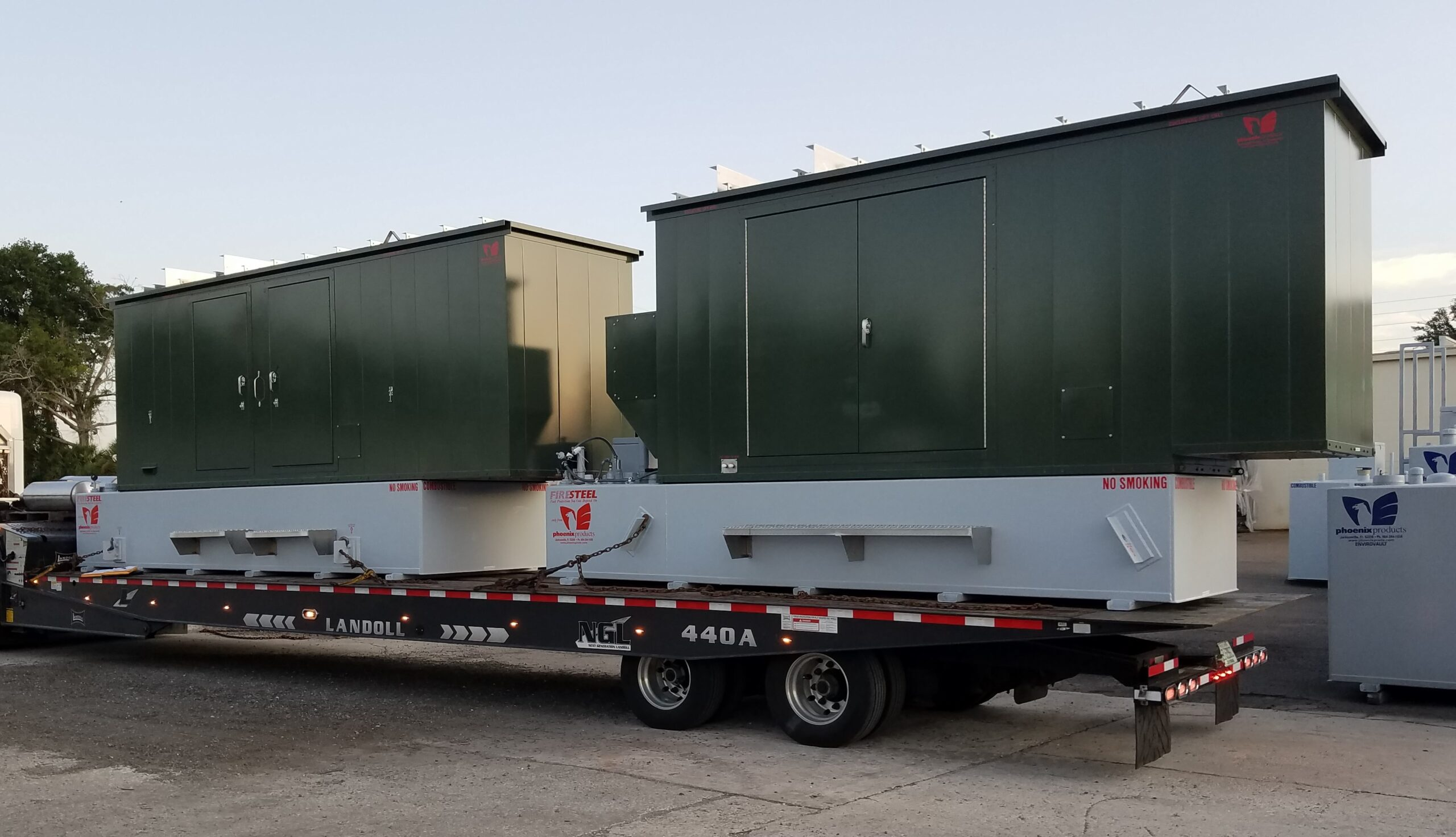 Phoenix-Products-Two-Custom-Green-Aluminum-Generator-Enclosures-With-UL-Sub-Base-Fuel-Tanks