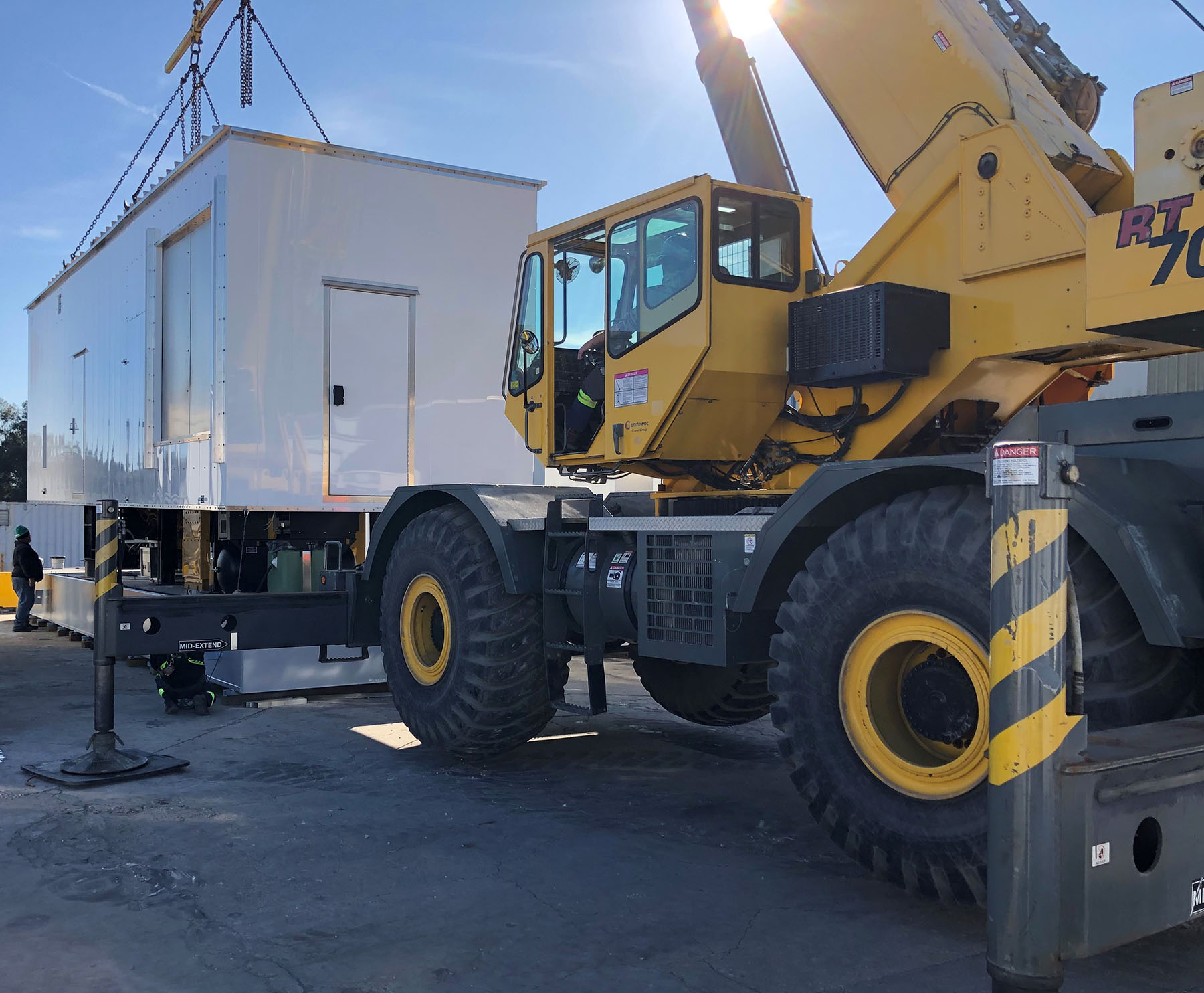 Custom-Generator-Enclosure-With-Sub-Base-Fuel-Tank-Lifted-Safely